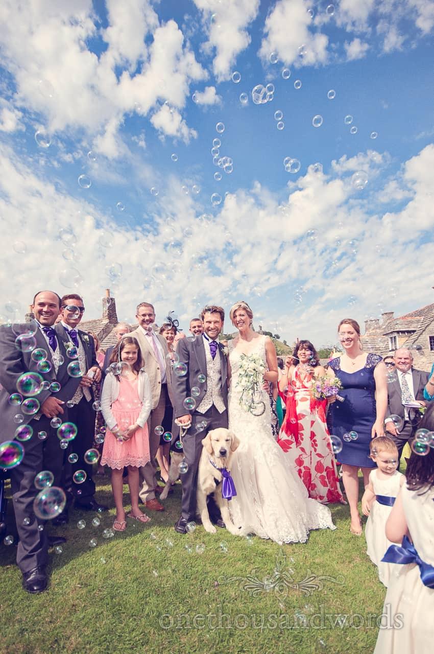 Wedding Bubbles at Corfe Castle Wedding in Dorset