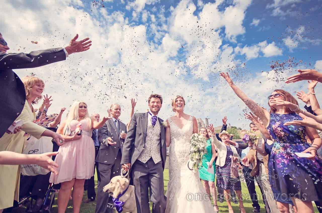 Wedding Confetti at Corfe Castle Wedding in Dorset