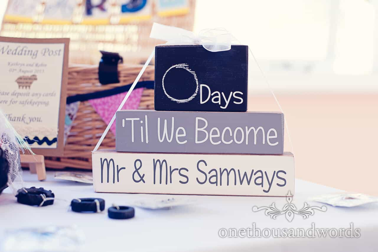 wedding countdown wood blocks at Purbeck House Hotel