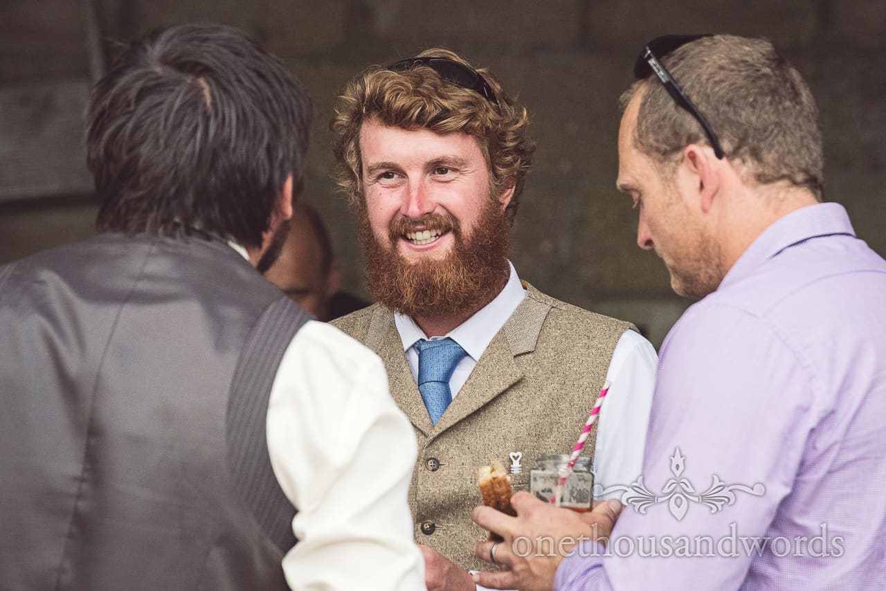 Wedding Guest with Beard at Wedding in Dorset