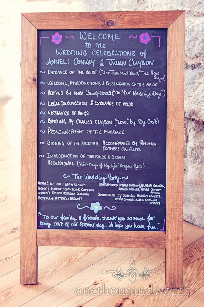 Wedding Order Of Day Blackboard at Lulworth Castle
