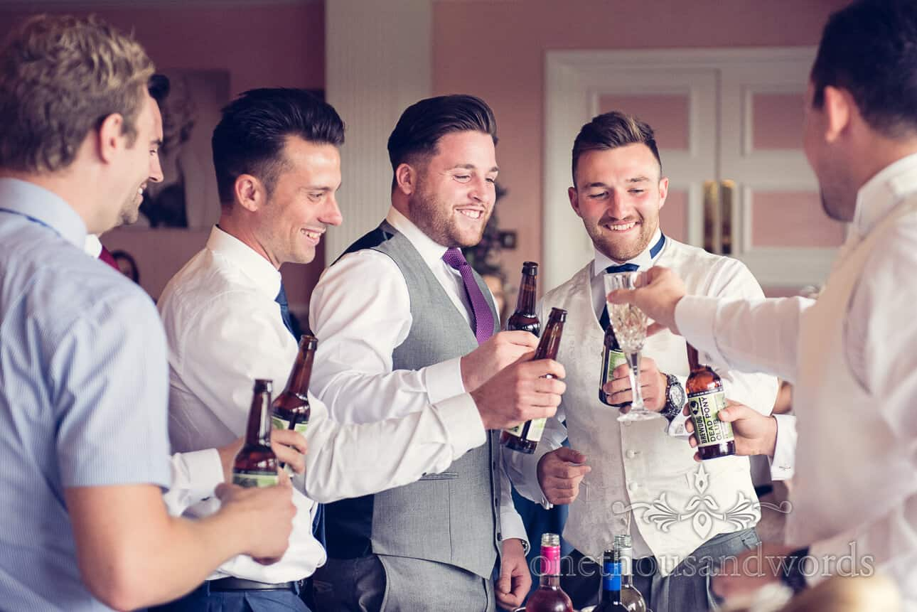 A toast with the stags at Dudsbury Golf Club Wedding