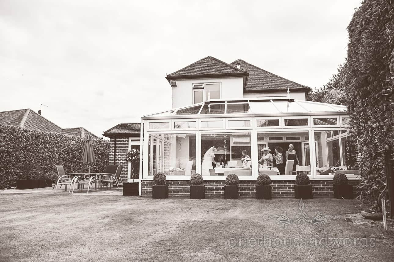 Black and White Photograph at Brides parents home