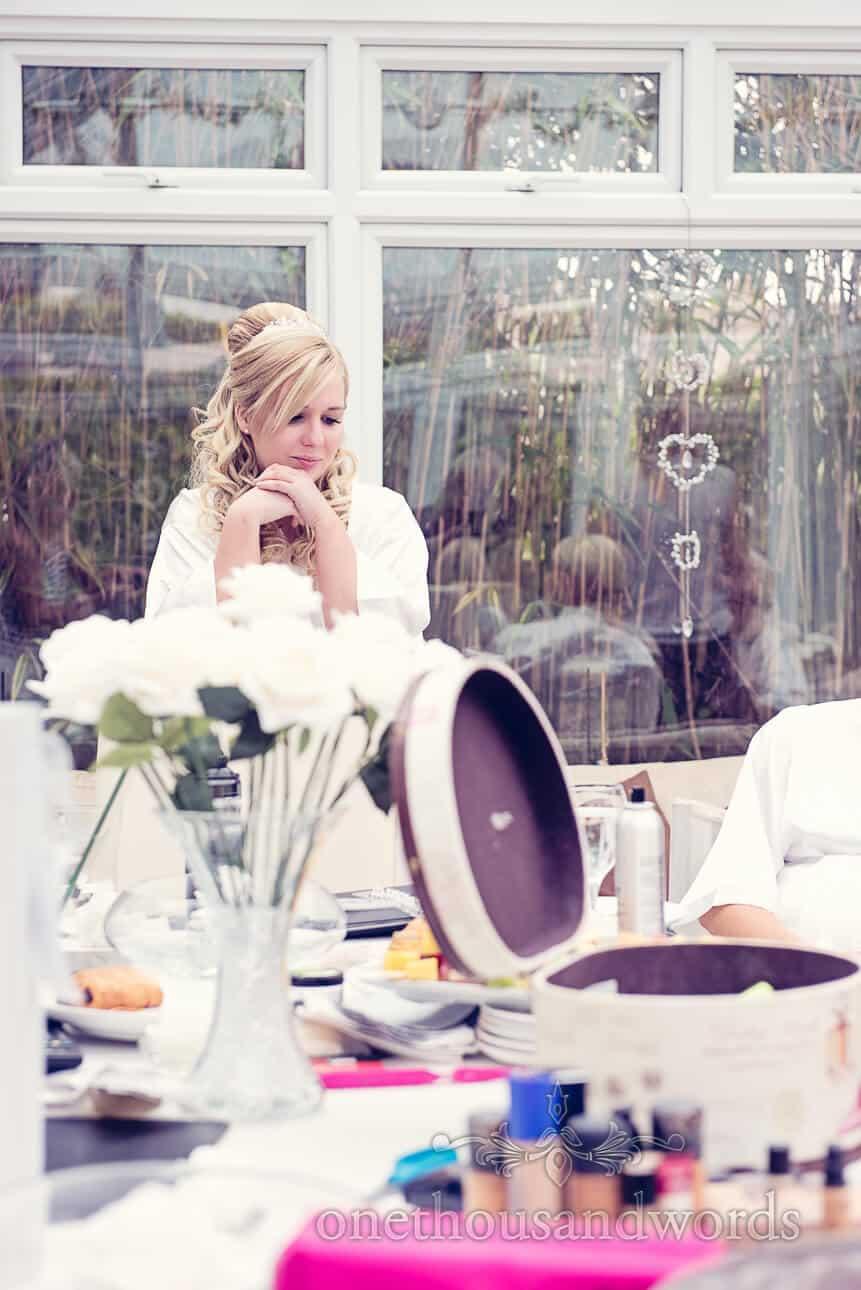 Bride during wedding morning