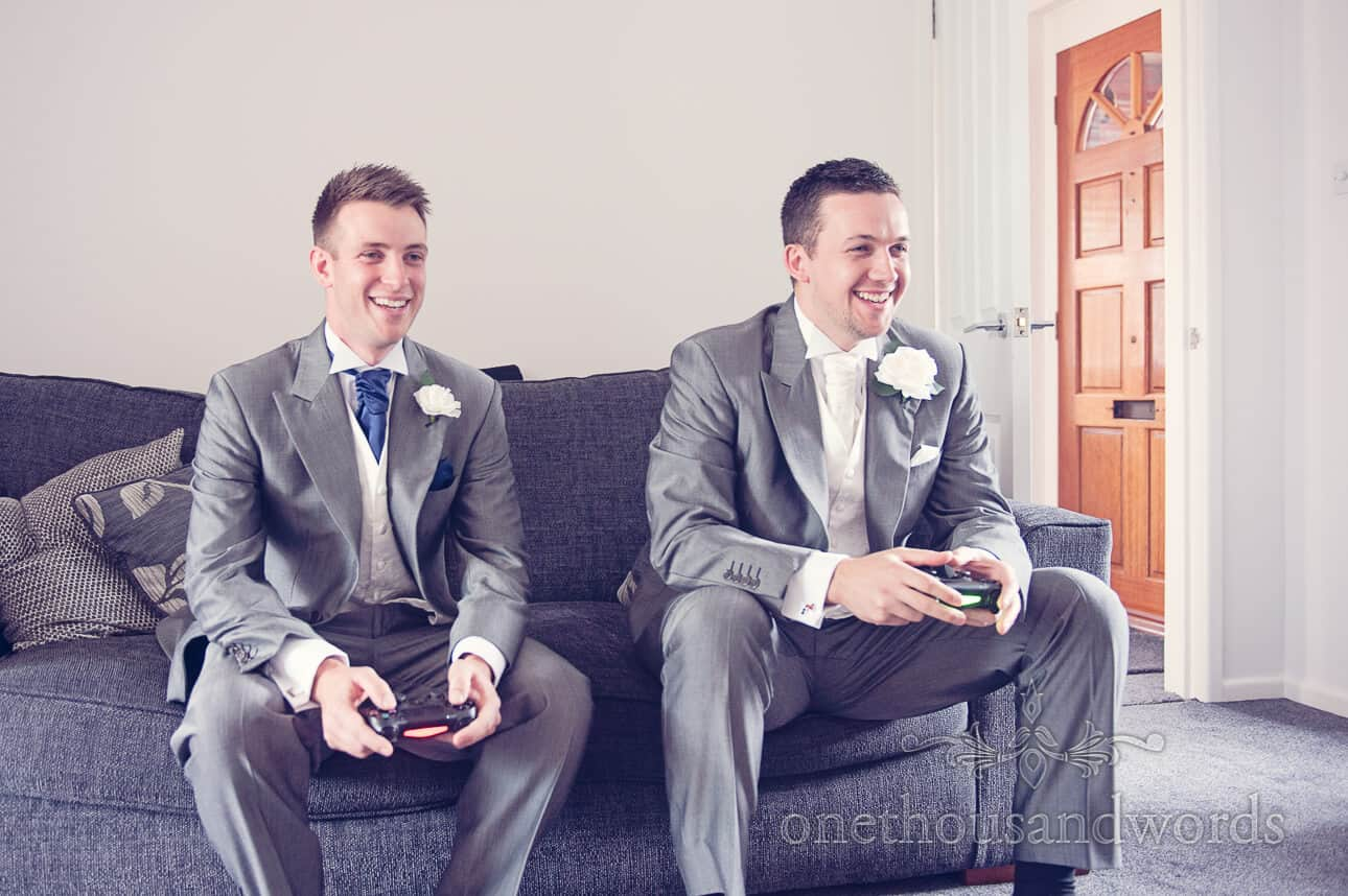 Groom and best man game on wedding morning