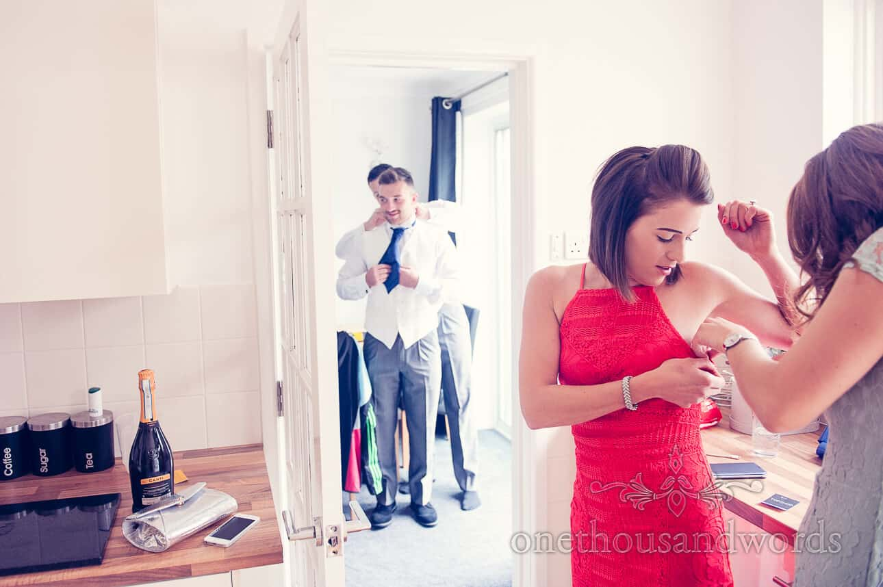Groom Usher and Guests prepare for the day