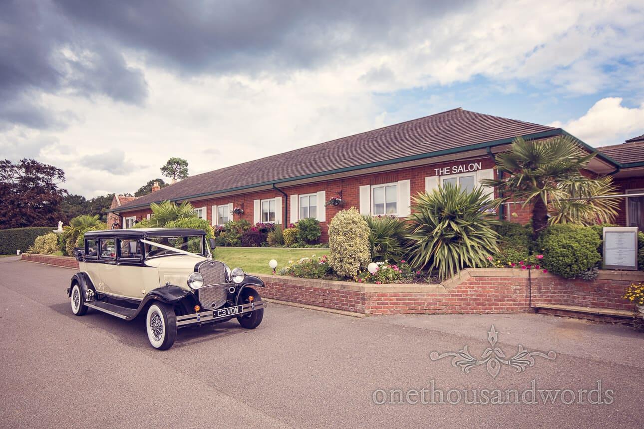 Wedding Car arrives at Dudsbury Golf Club Wedding