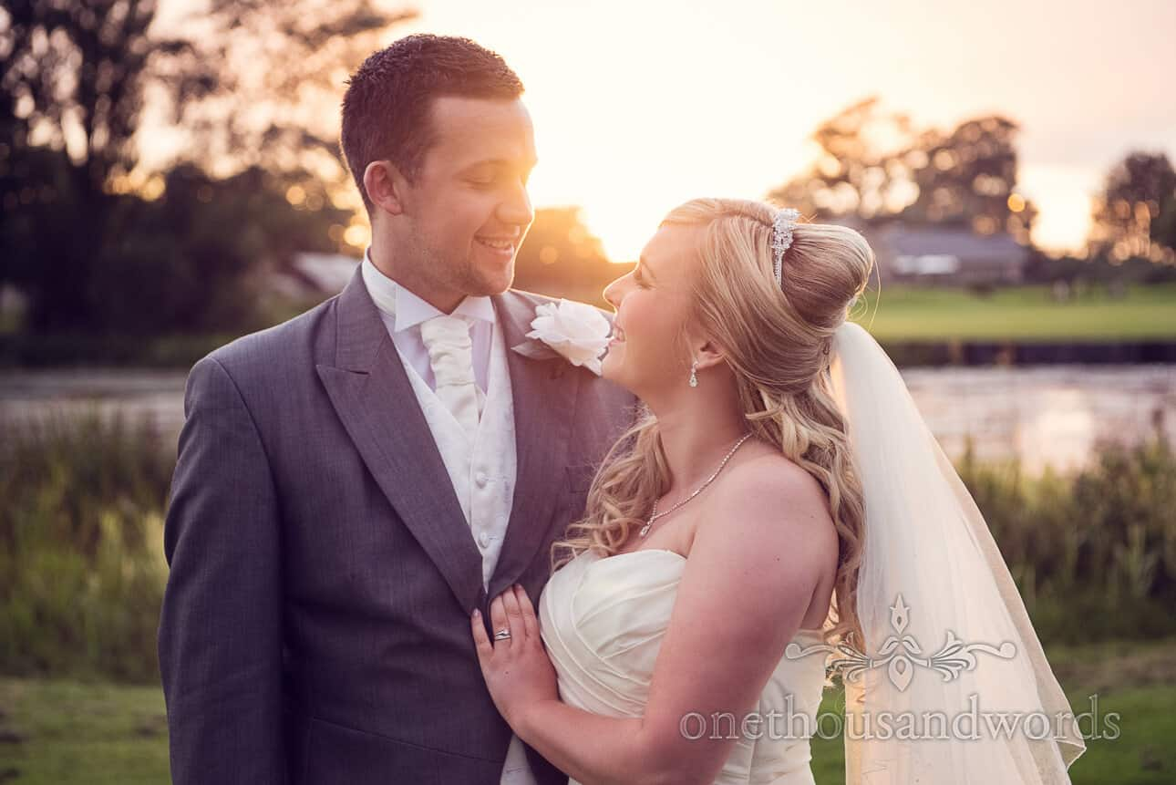 Wedding couple sunset at Dudsbury Golf Club Wedding