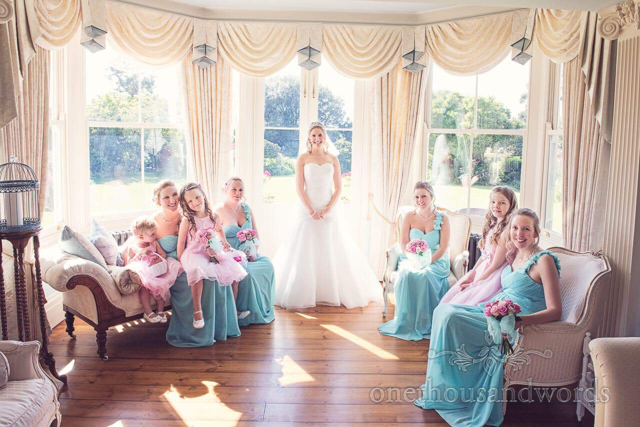 All the girls at Parley Manor Wedding