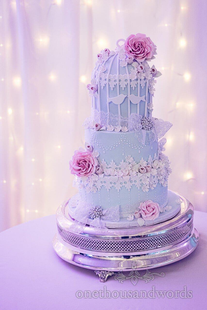 Birdcage inspired cake at Parley Manor Wedding