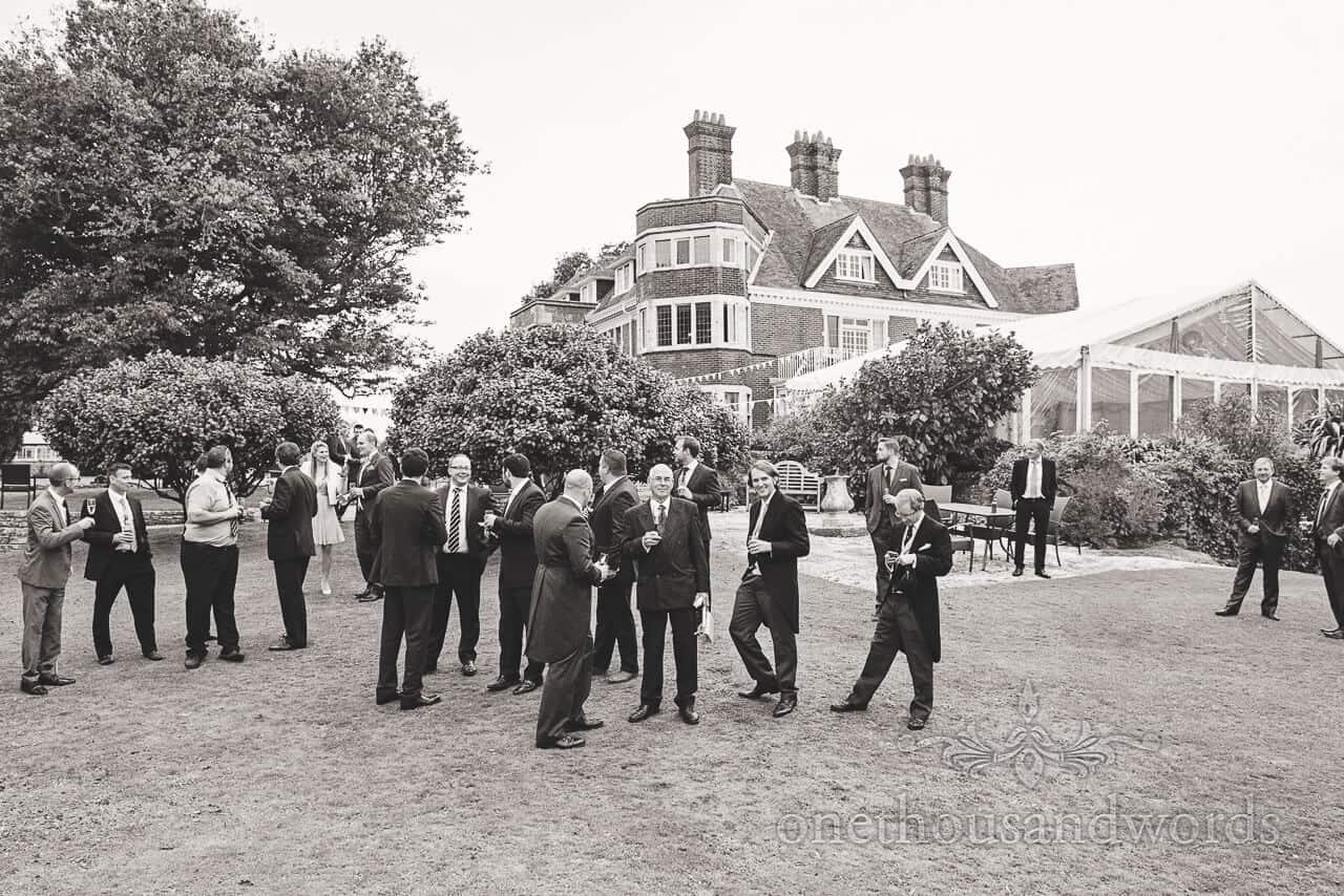 Black and white image at Studland Bay House Wedding