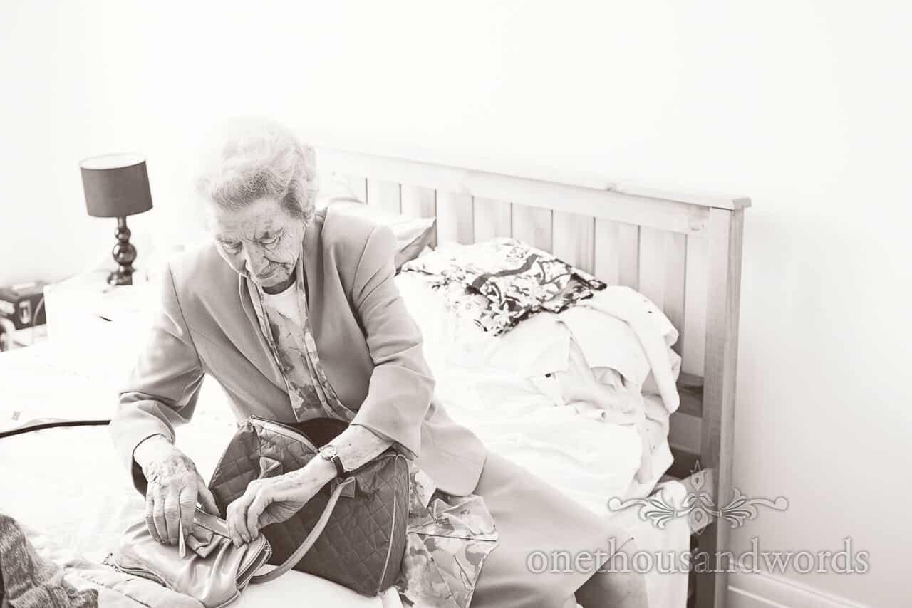 Black and white image of Gran at Parley Manor Wedding