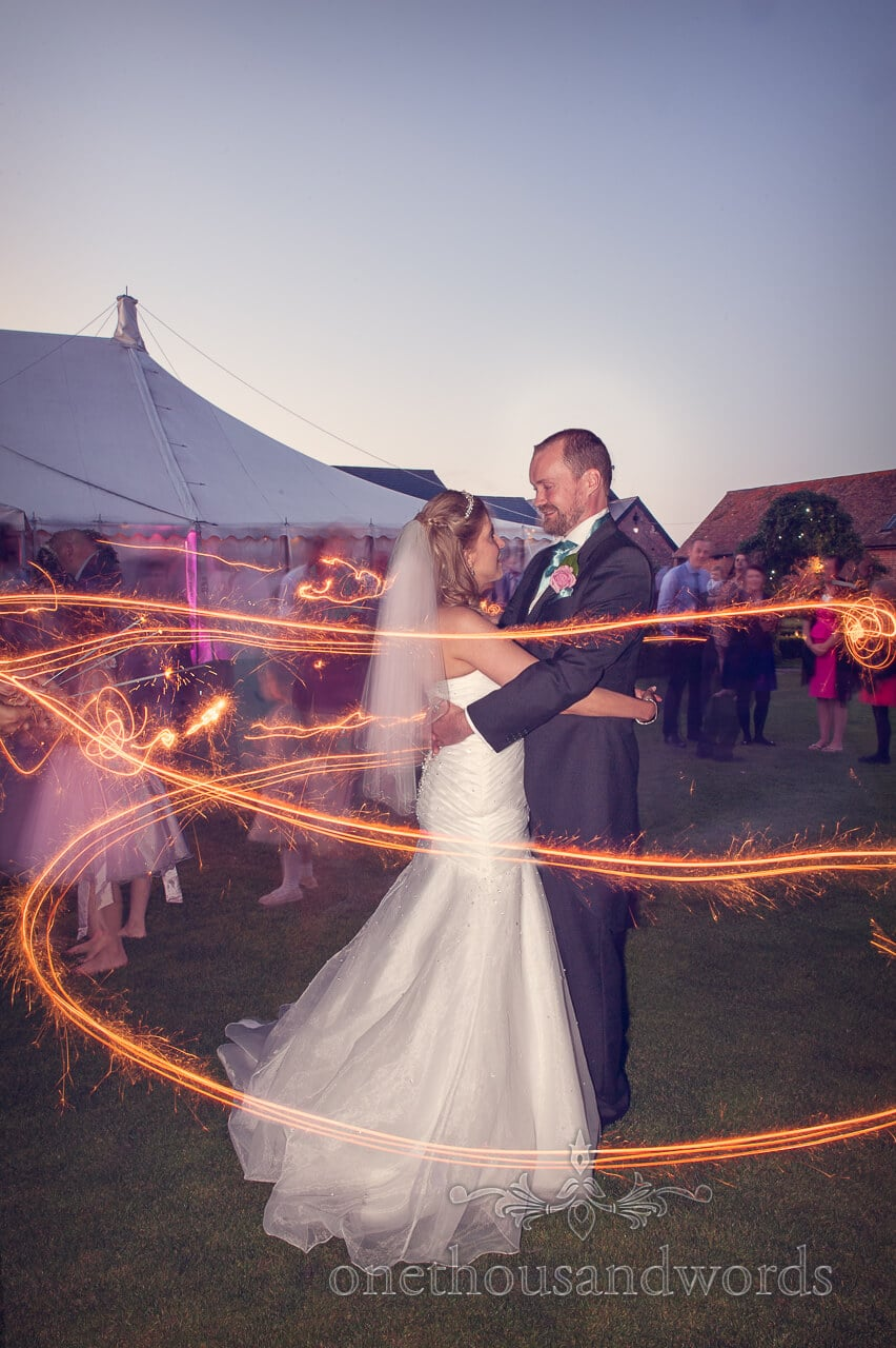 Bride and Groom in sparklers trace