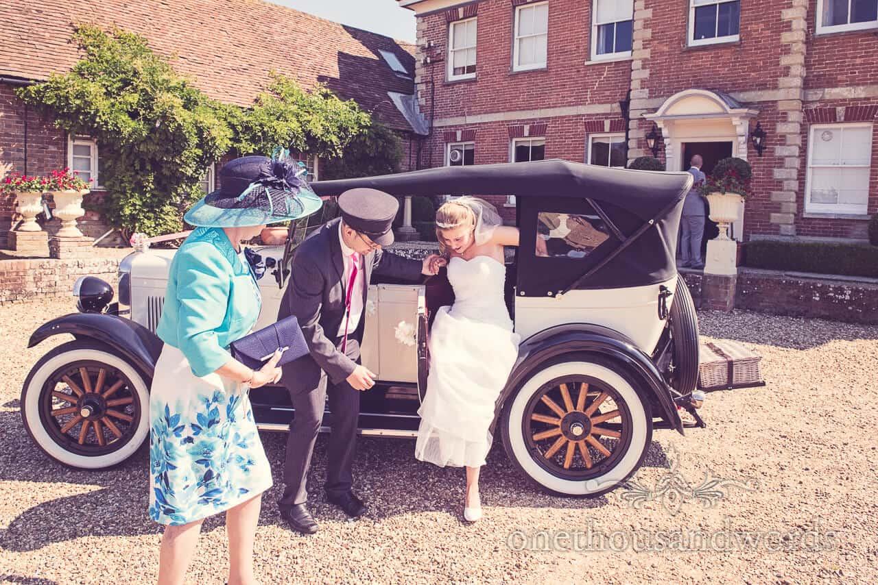 Bride arrives at Parley Manor Wedding