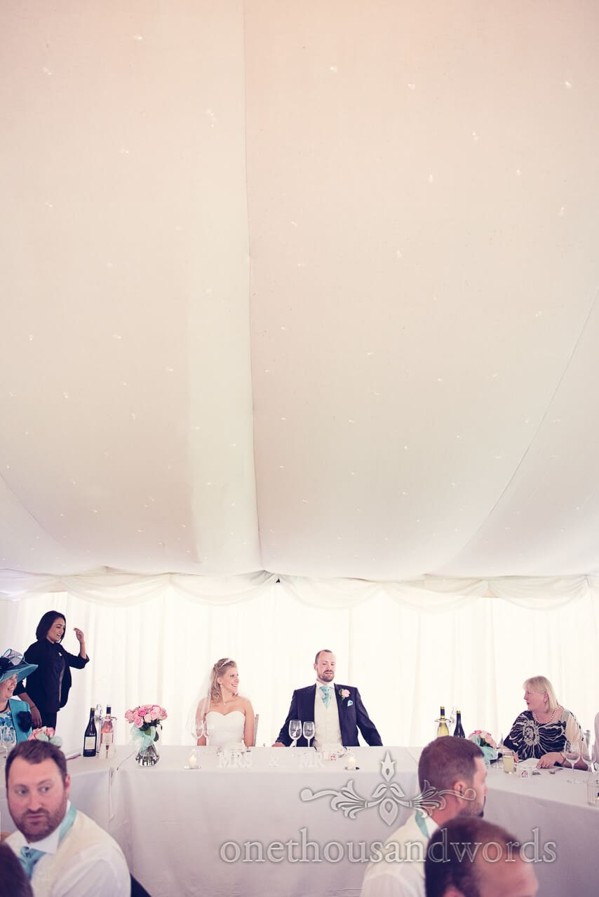 Bride at Groom seated at Parley Manor Wedding