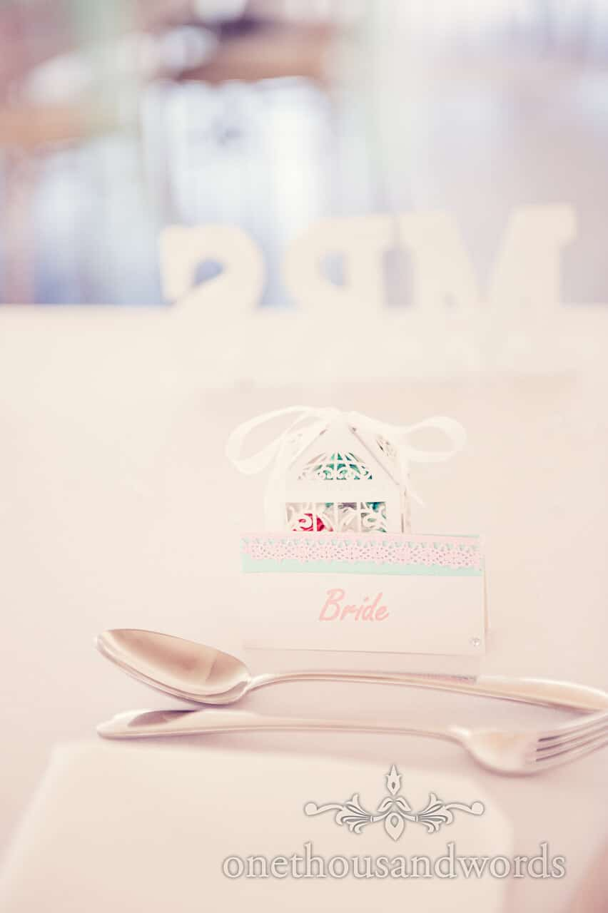 Bride place setting at Parley Manor Wedding