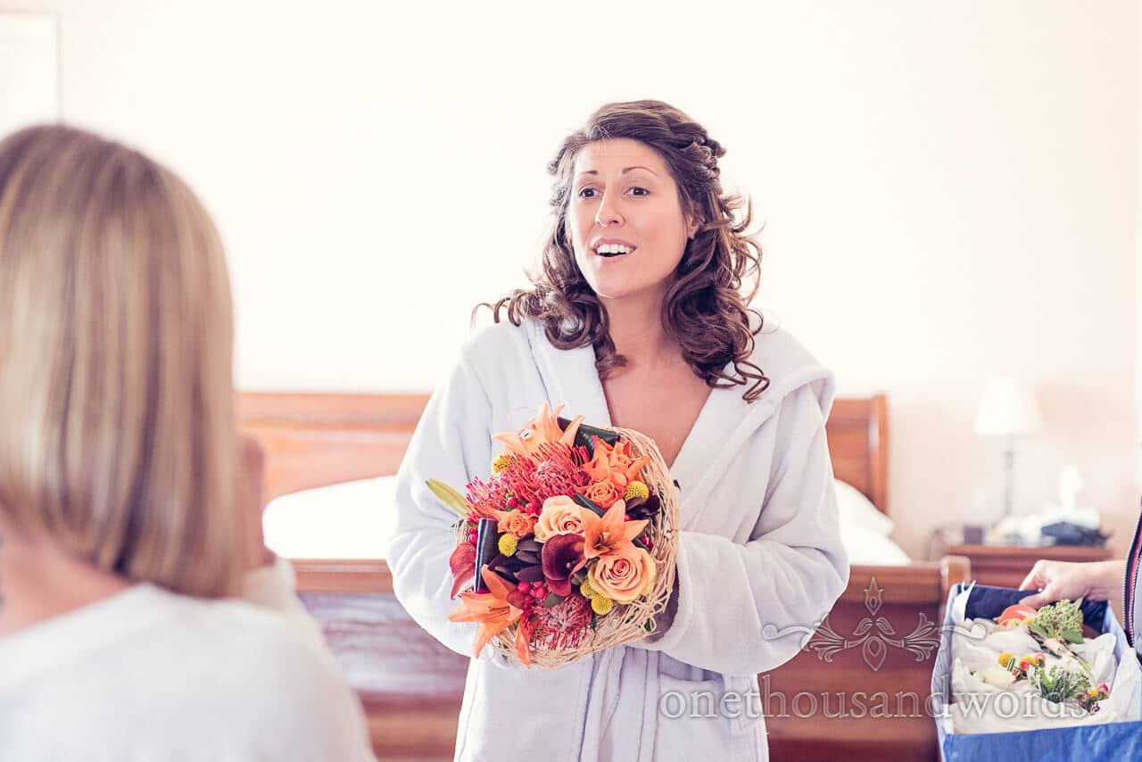 Bride with bouquet at Studland Bay House Wedding