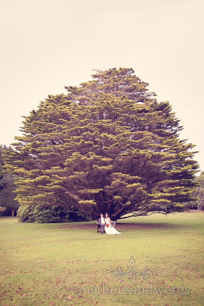 Couple in gardens at Studland Bay House Wedding