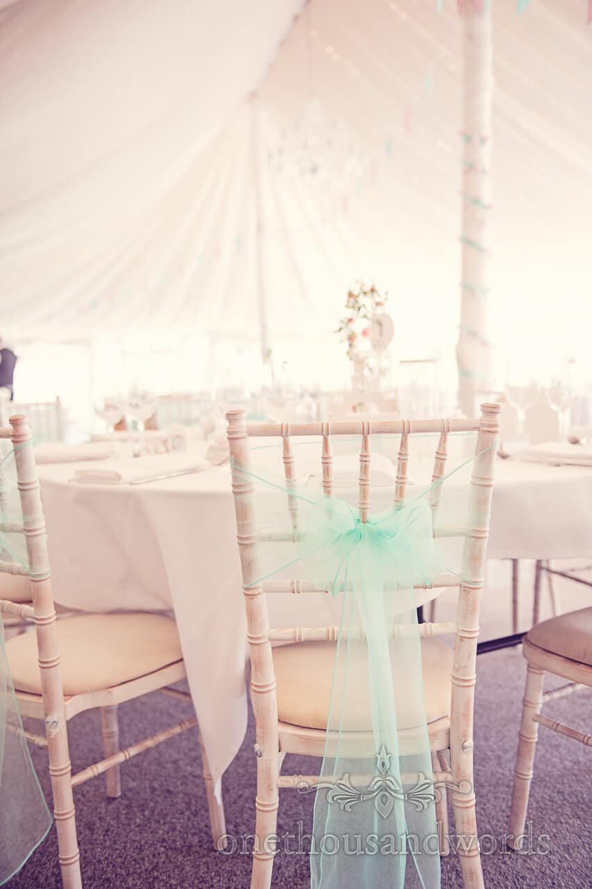 Dressed chair at Parley Manor Wedding