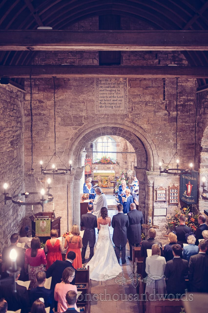 From Church balcony at Studland Bay House Wedding