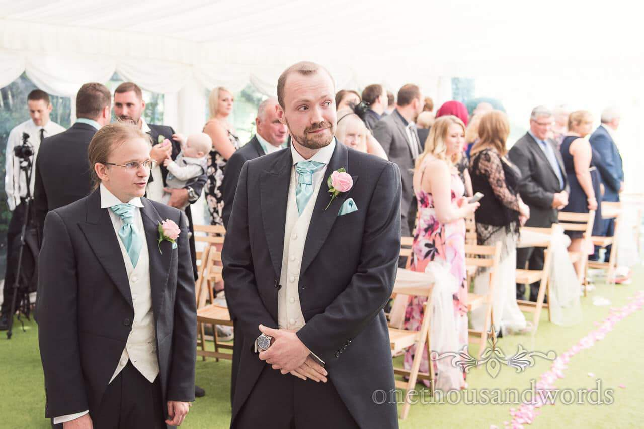 Groom and Best Man at Parley Manor Wedding