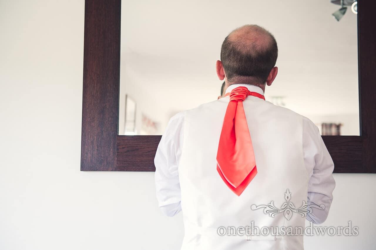 Groomsman on morning of Wedding