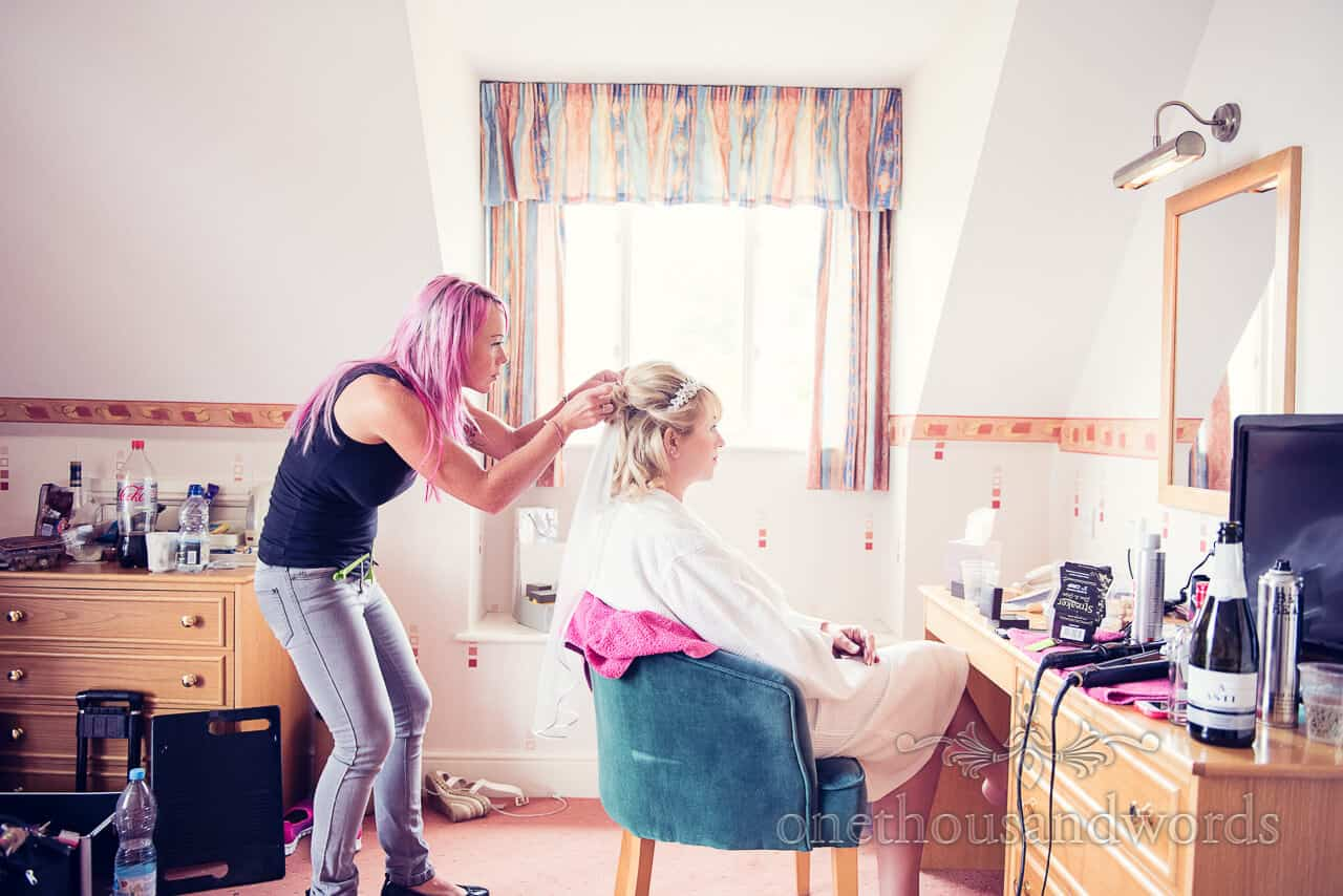 Hair Adjustments before Dorset Castle Wedding