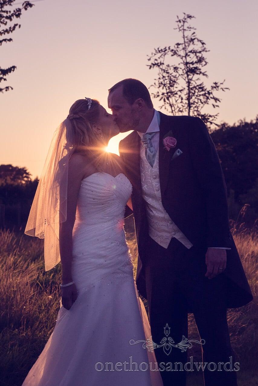 Kiss at Parley Manor Wedding