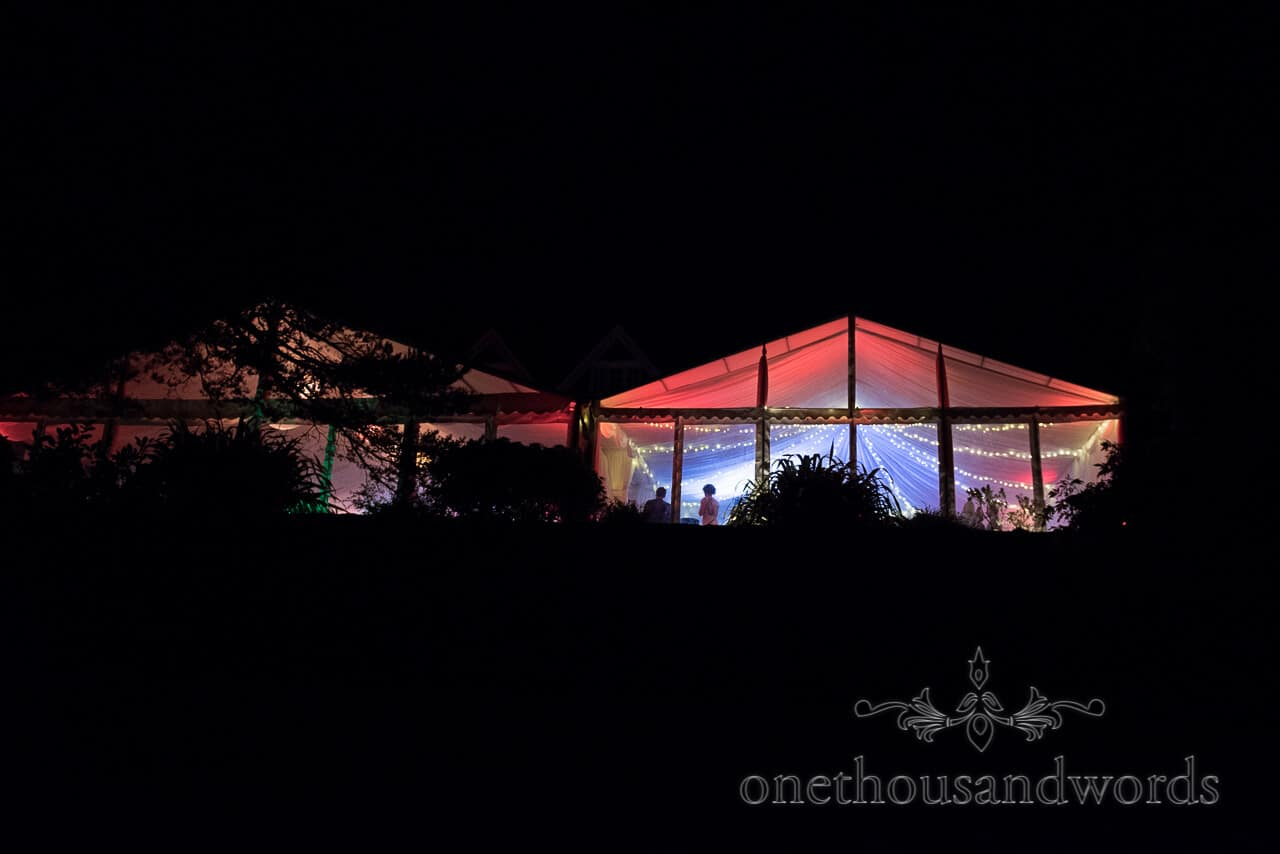 Lit up marquee at Studland Bay House Wedding