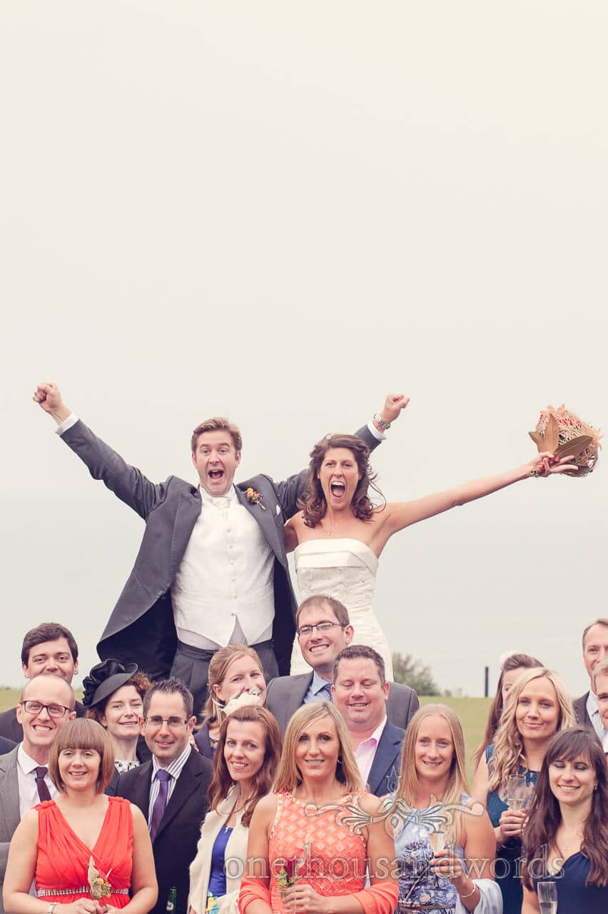 Newlyweds above the guests in Studland