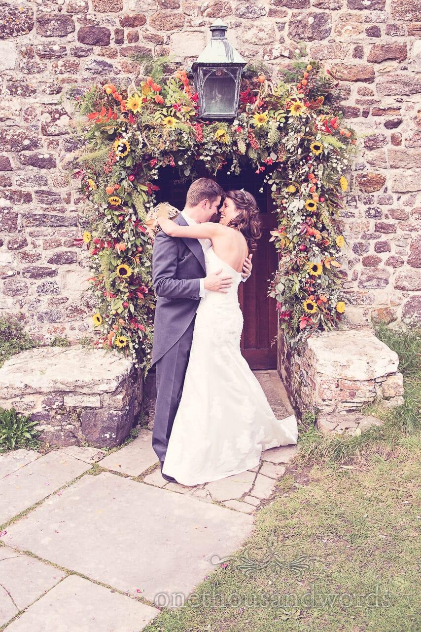 Newlyweds outside at Studland Bay House Wedding