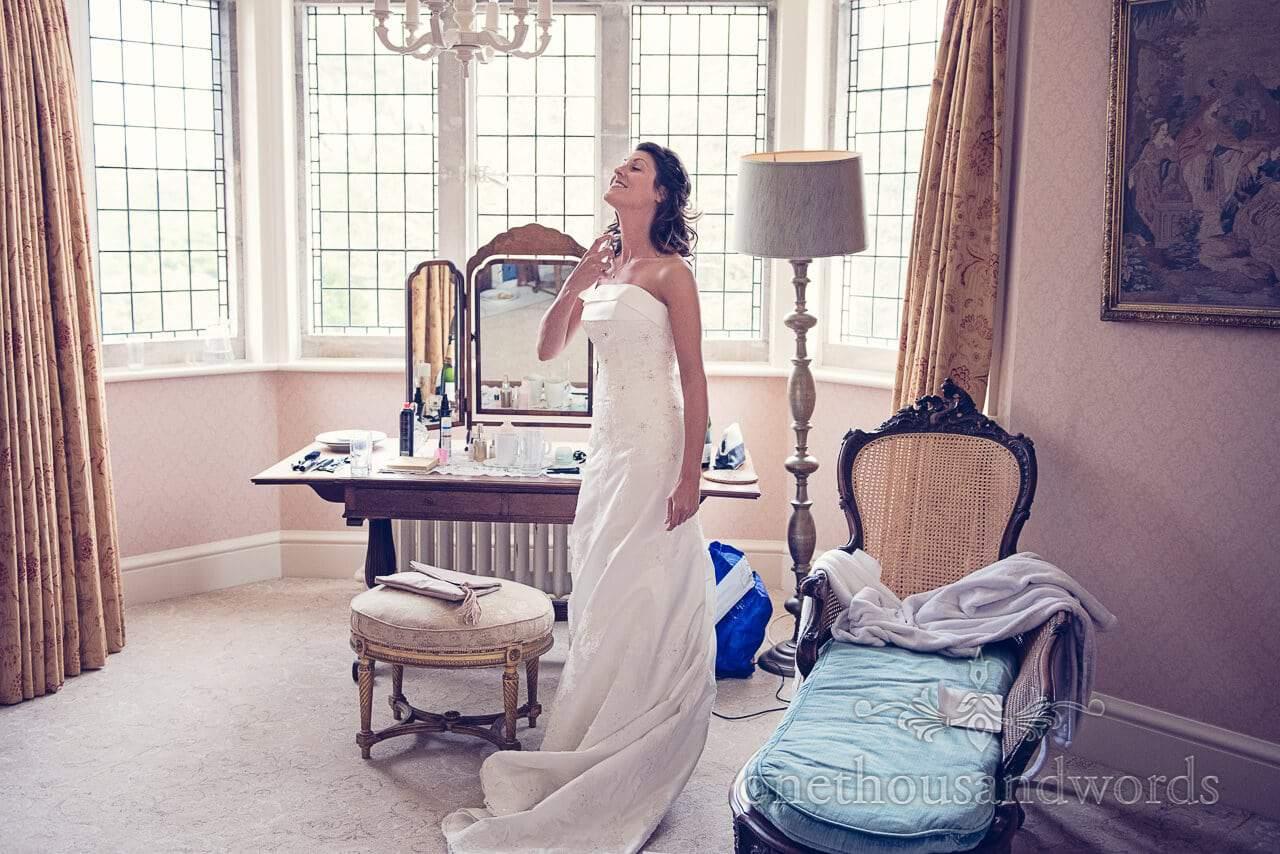 Perfume applied at Studland Bay House Wedding