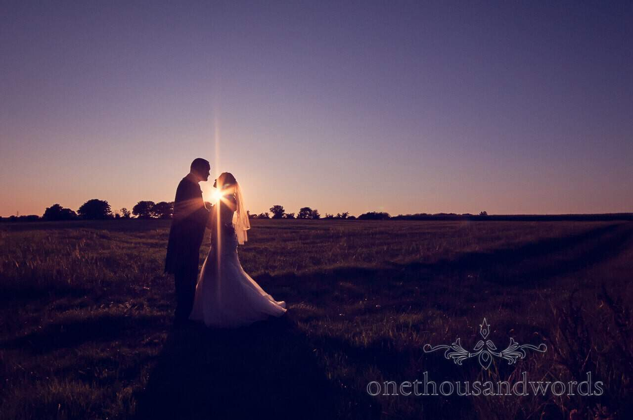 Sunset couple at Parley Manor Wedding