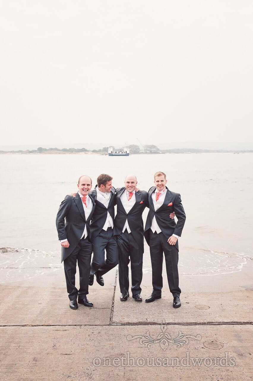 Waiting for the ferry at Studland Bay House Wedding