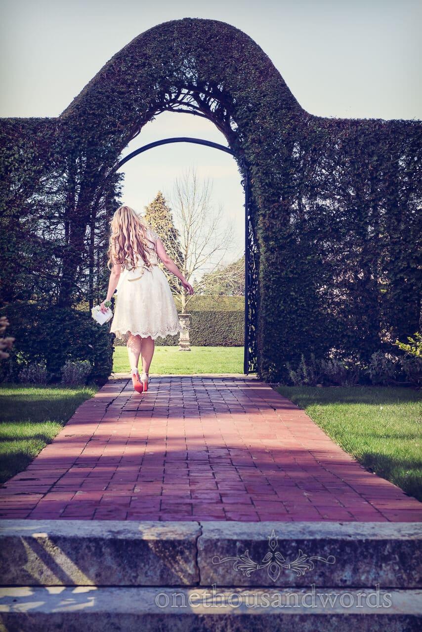 Alice in wonderland bride at Tylney Hall