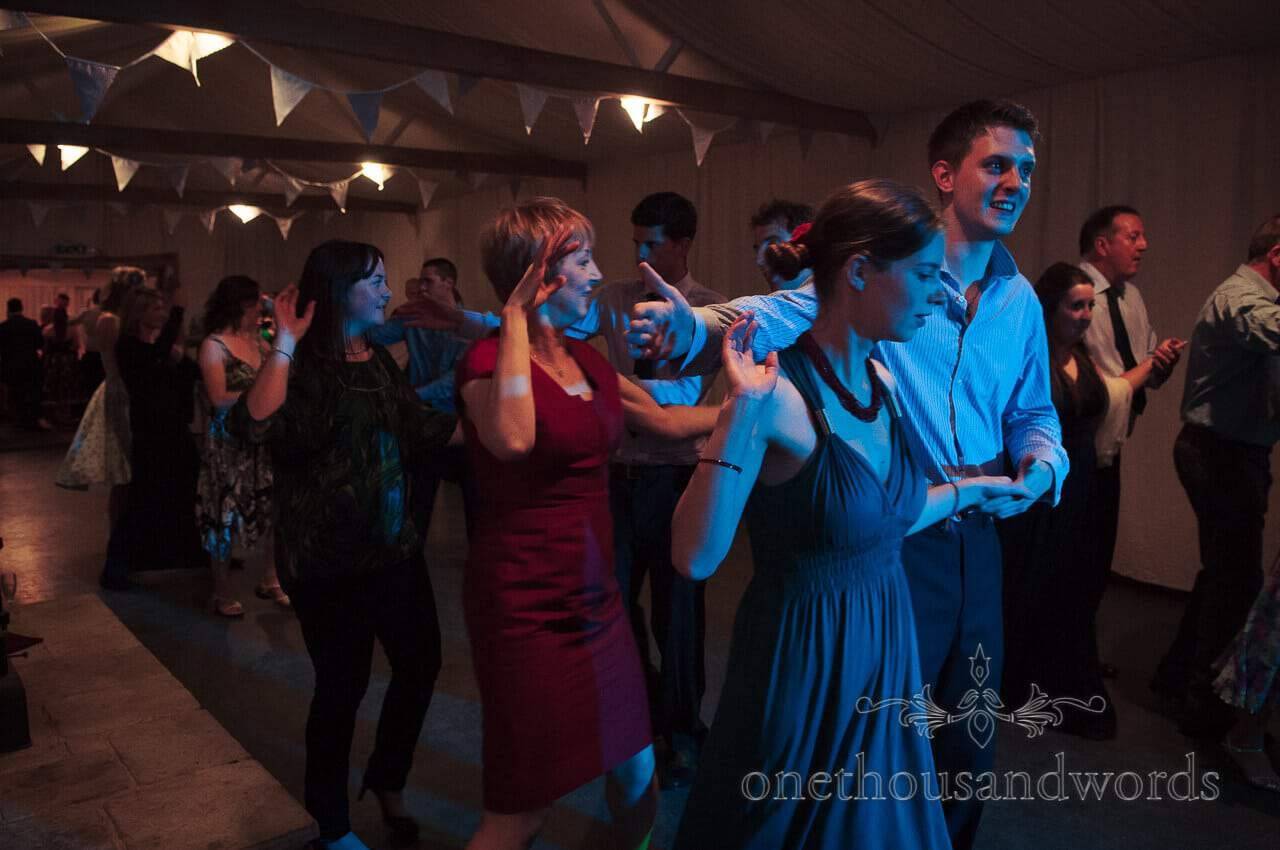 Barn dance at weddings in the wood New Forest wedding venue