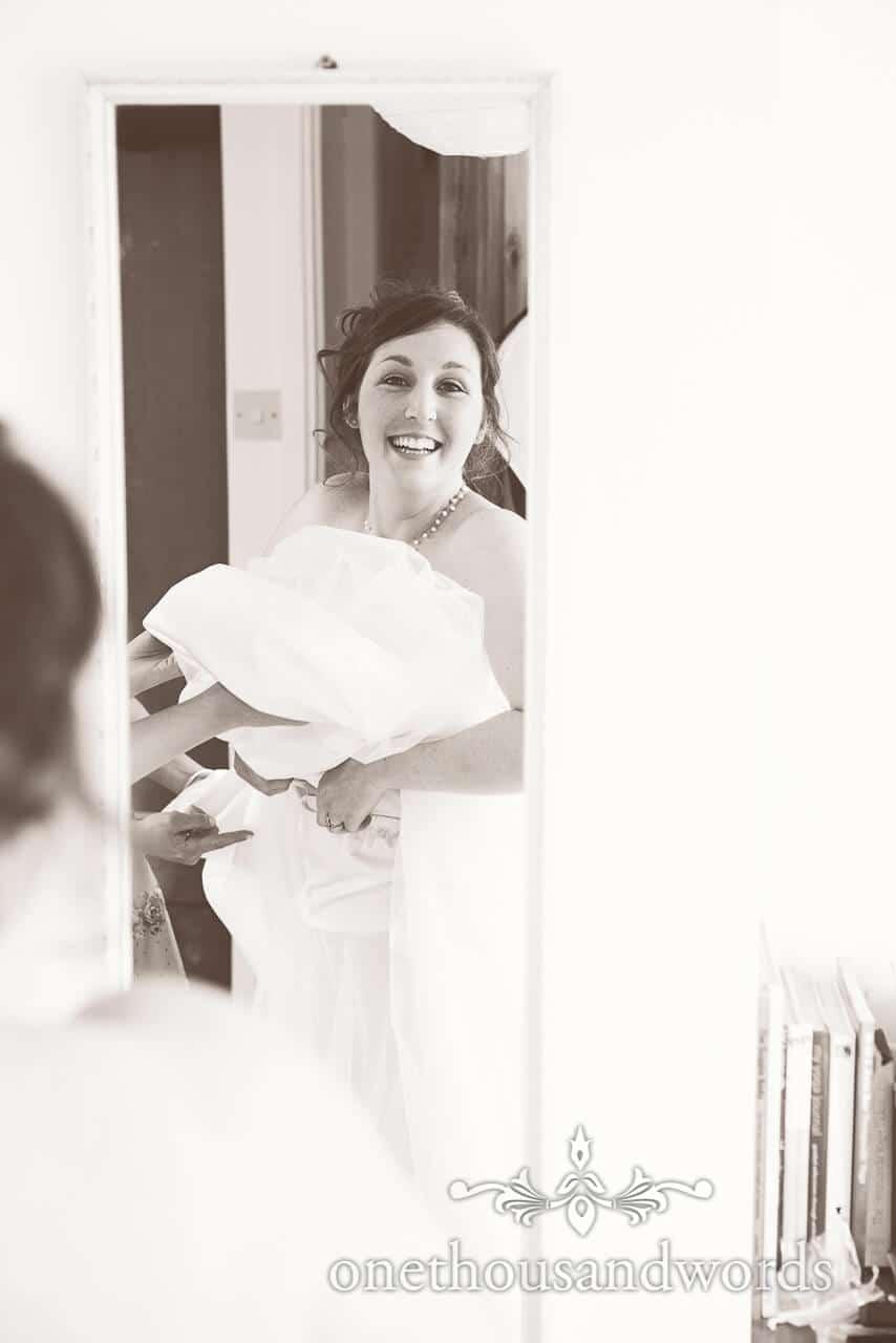 Black and white bride portrait photograph