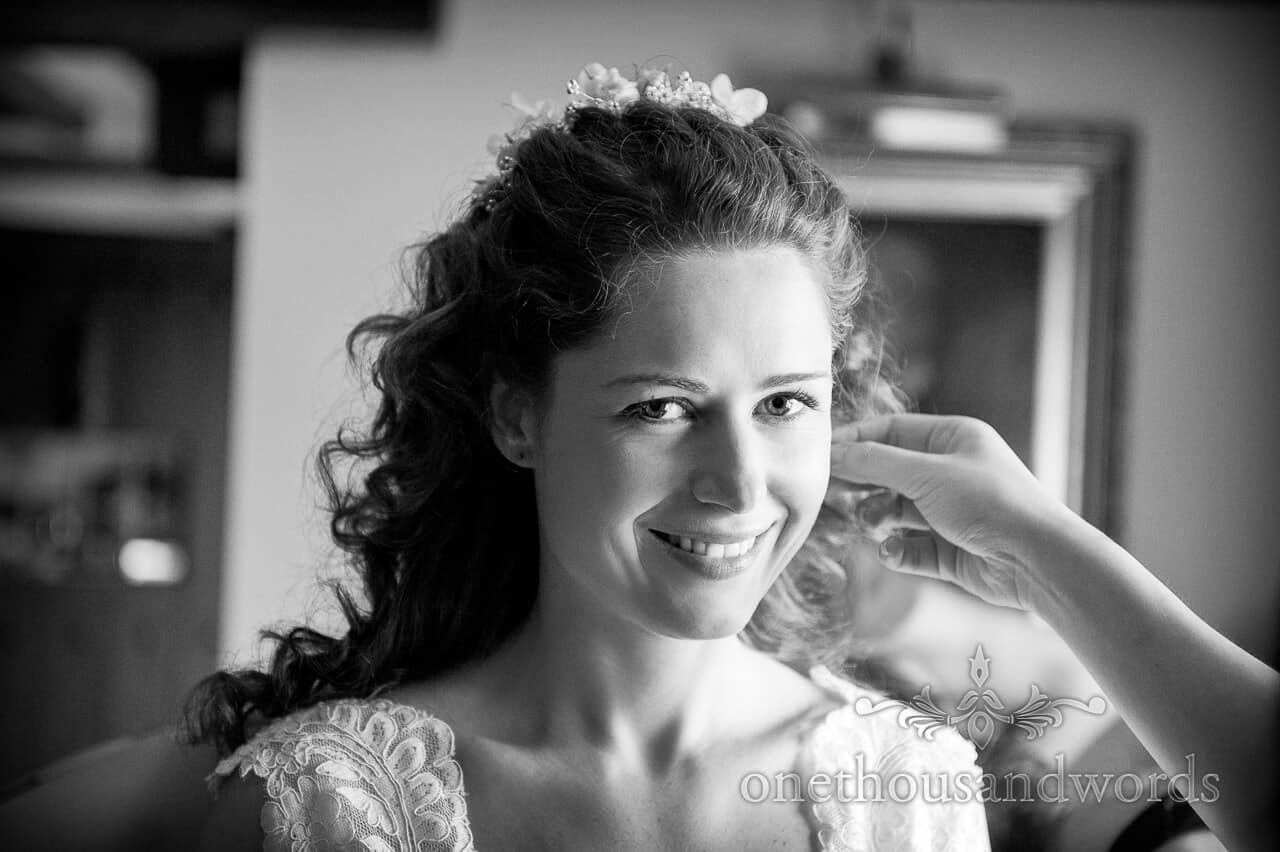 Black and White Portrait Photograph of Bride