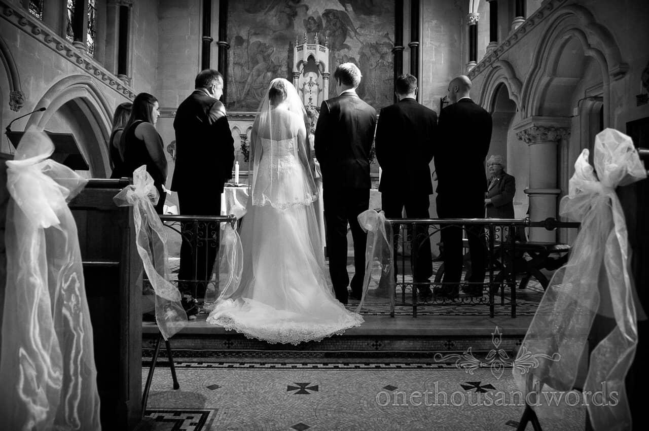 Black and white wedding photography of Lyndhurst church wedding ceremony