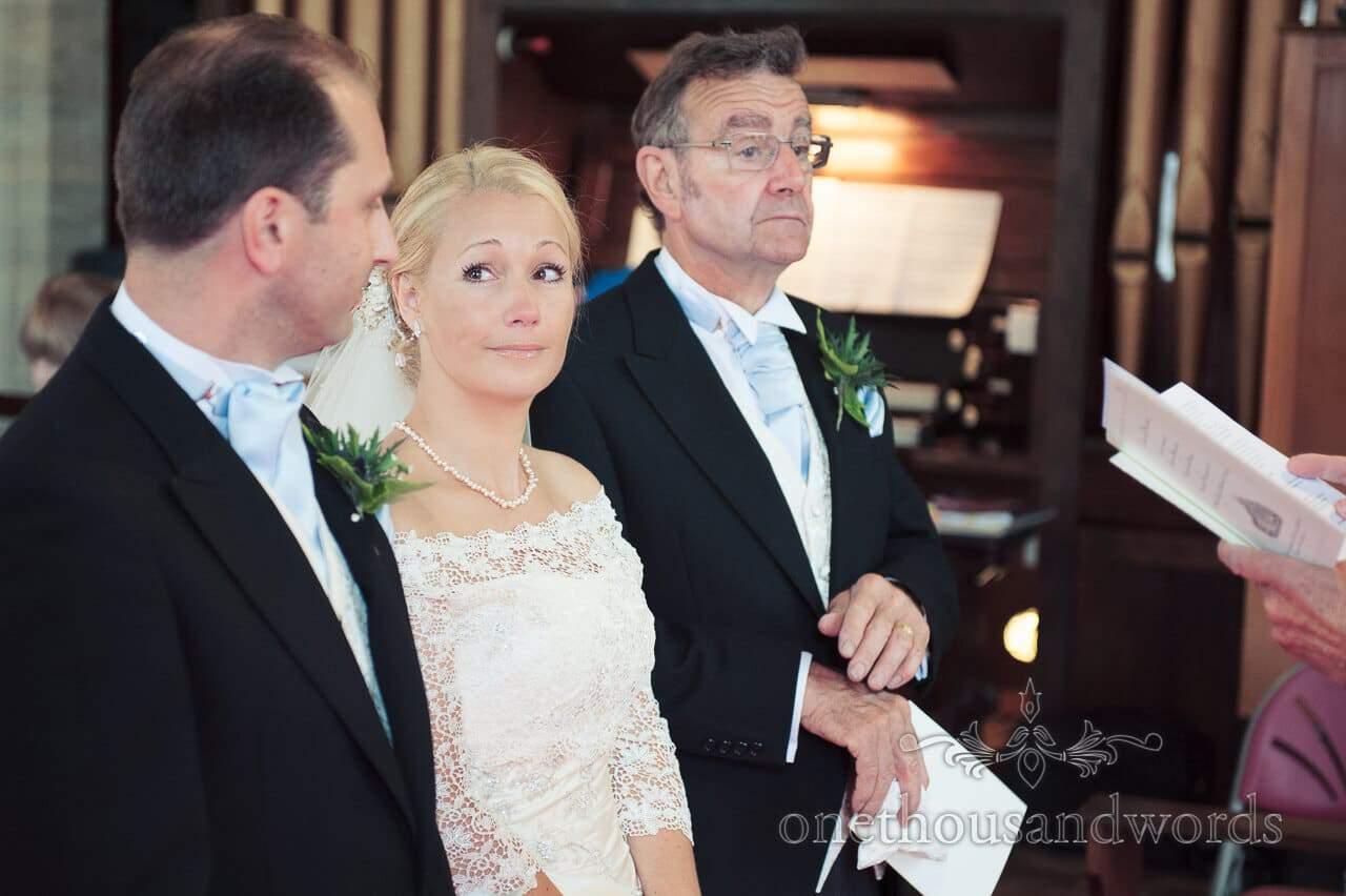 Bridal portrait photograph taken at Church Wedding service in Dorset