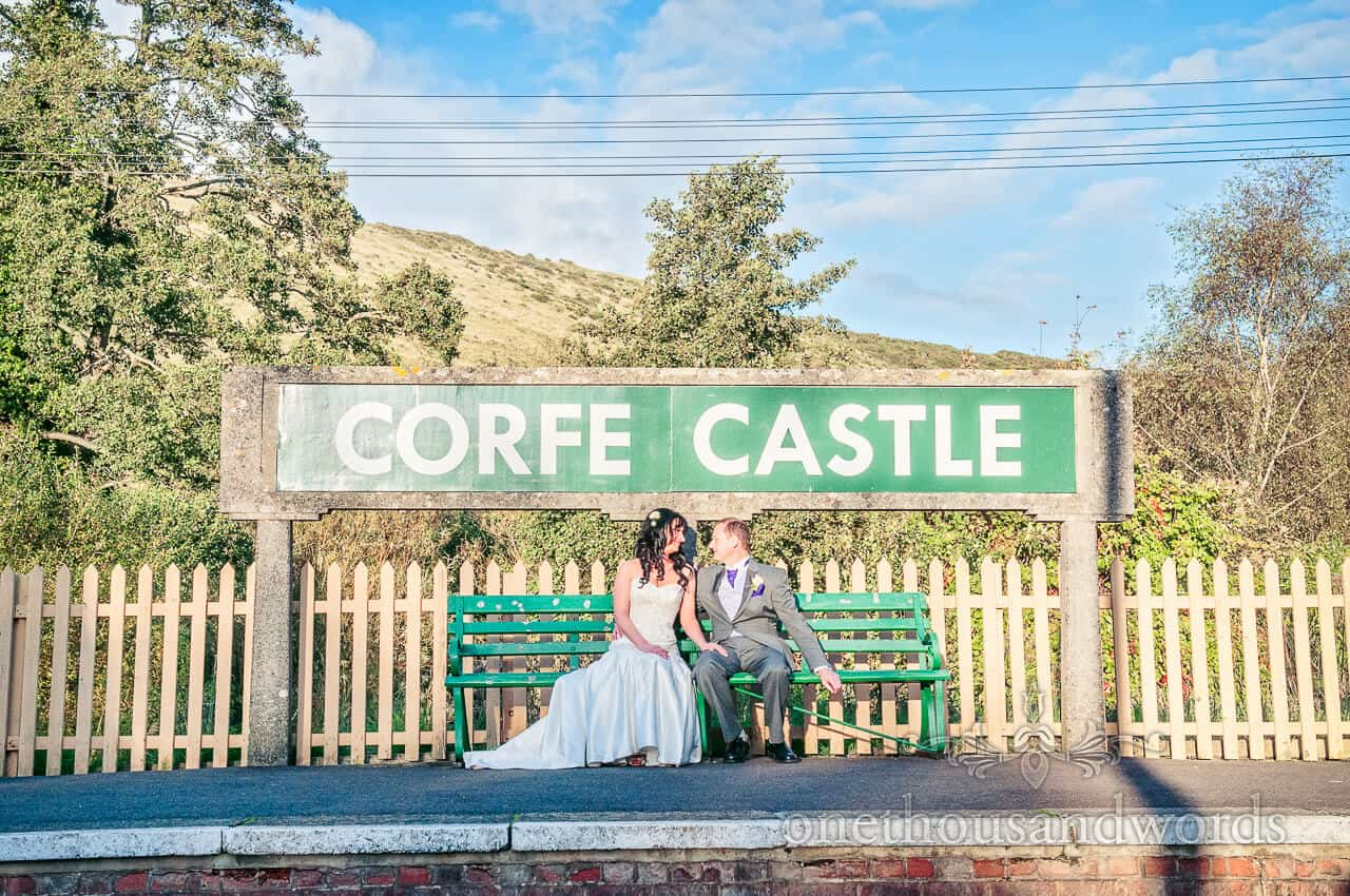 Bride and Groom at Corfe Castle railway station
