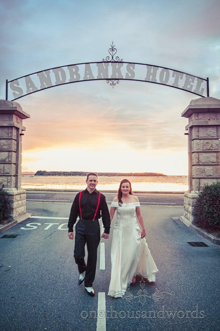 bride and groom at Sandbanks Hotel wedding