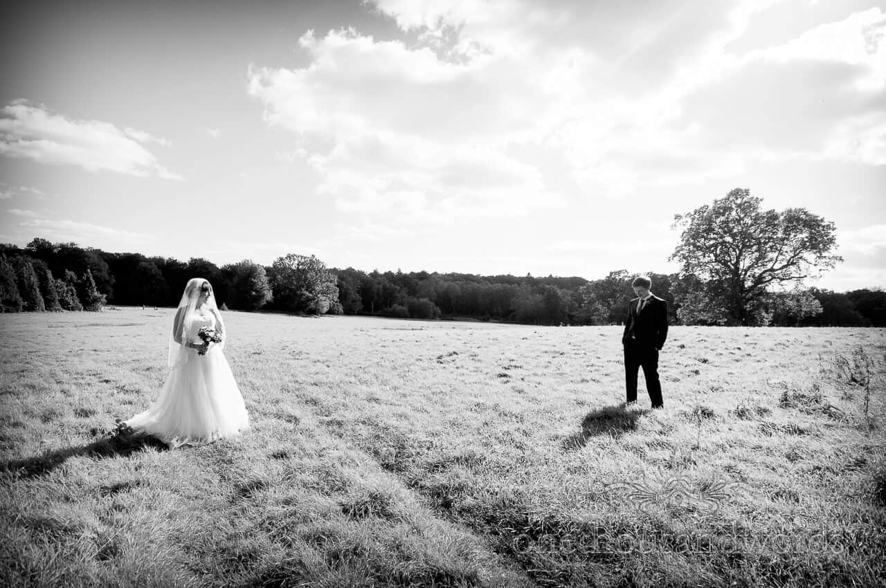 weddings in the wood photographs - Bride and groom in countryside