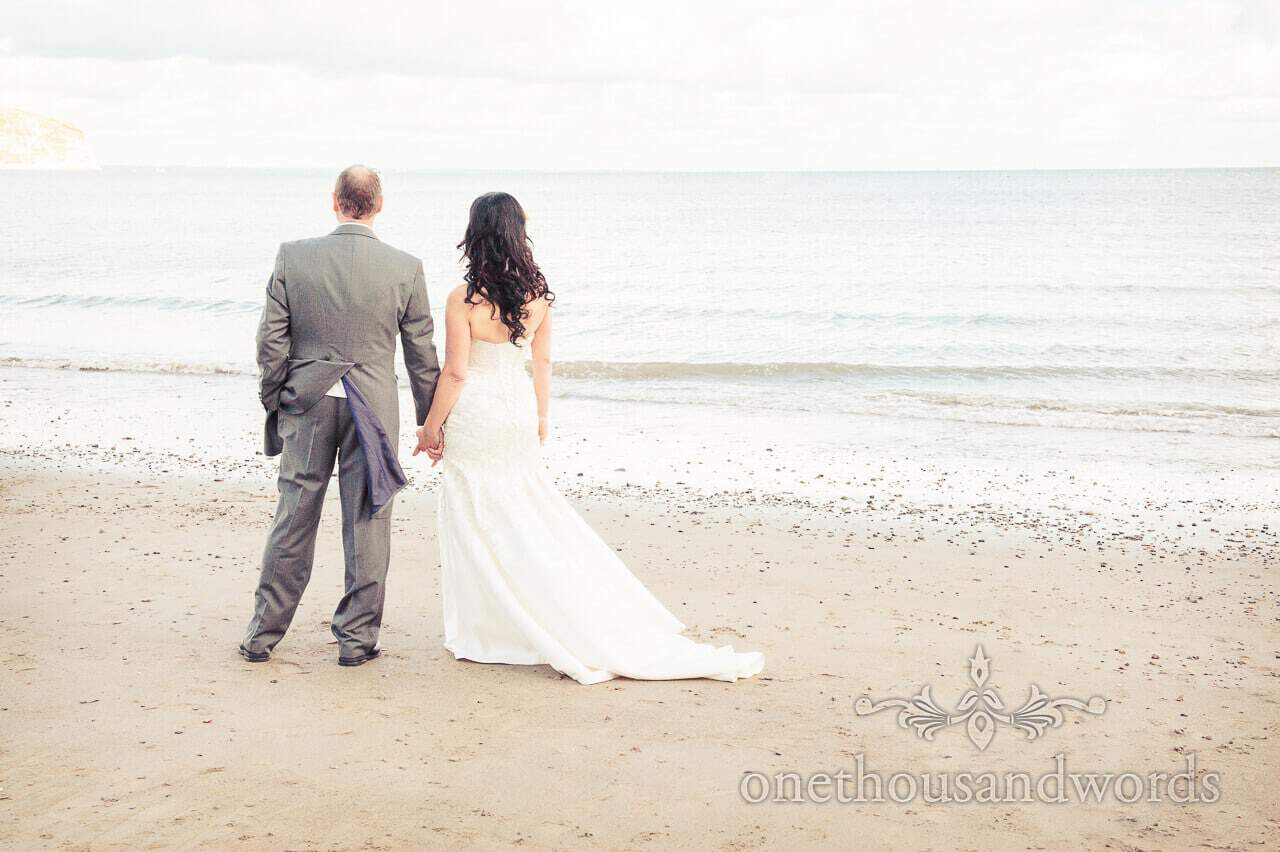 Bride and groom on Swanage Beach