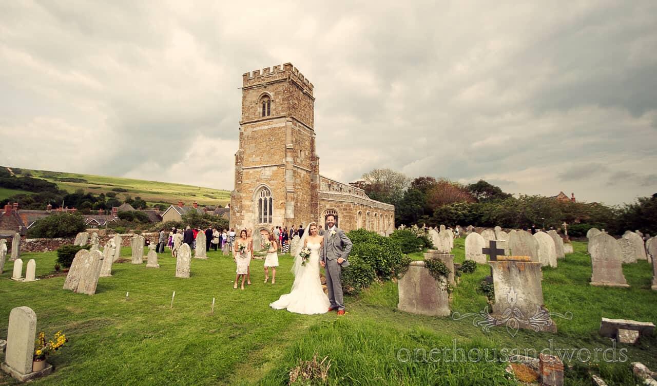 Bride and Groom outside Abbotsbury Church, Dorset