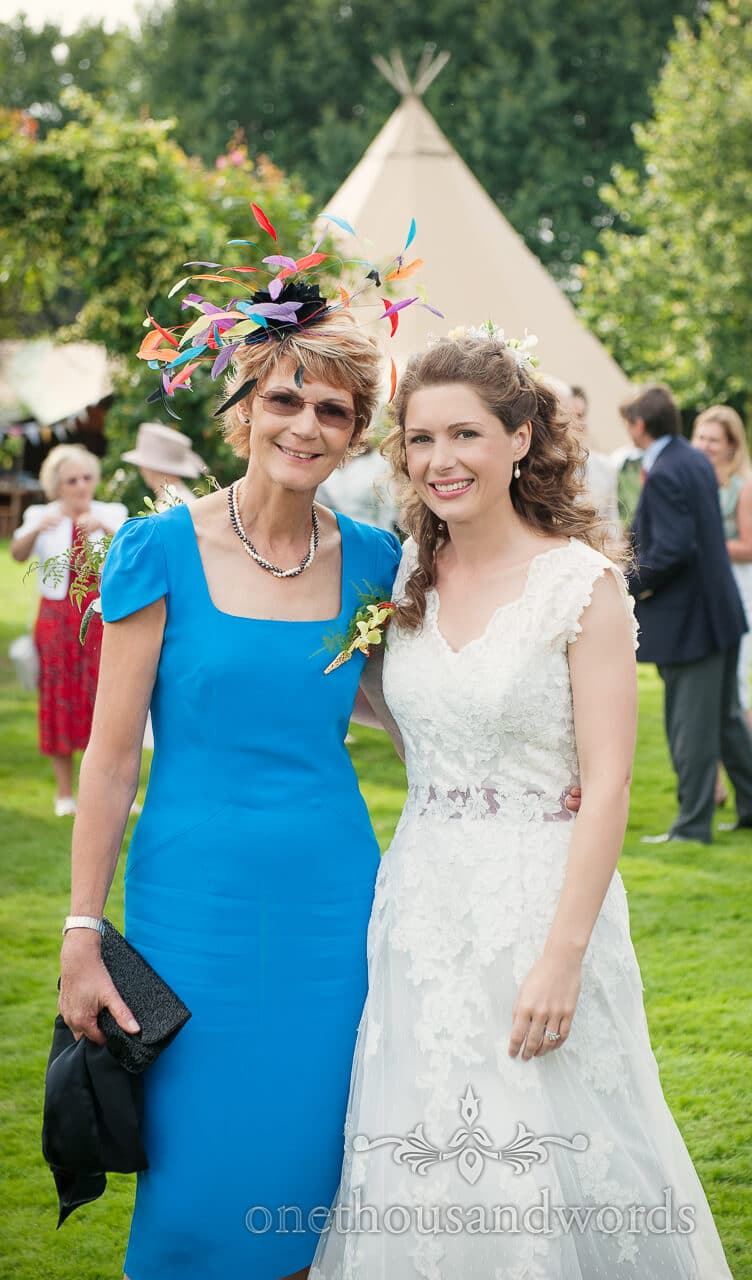 Bride and her mother at tipi wedding