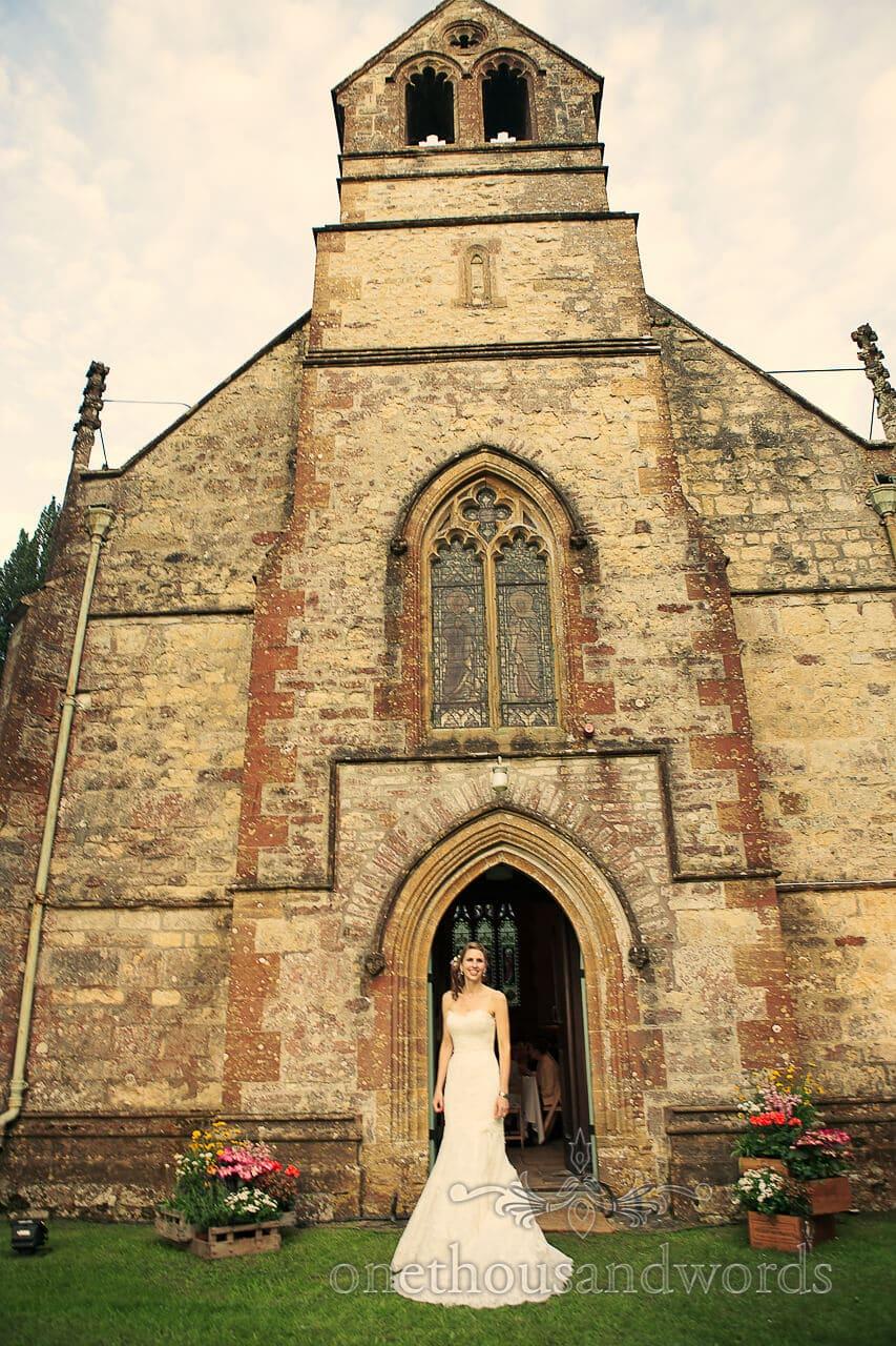 Bride outside Plush Manor Church Wedding venue
