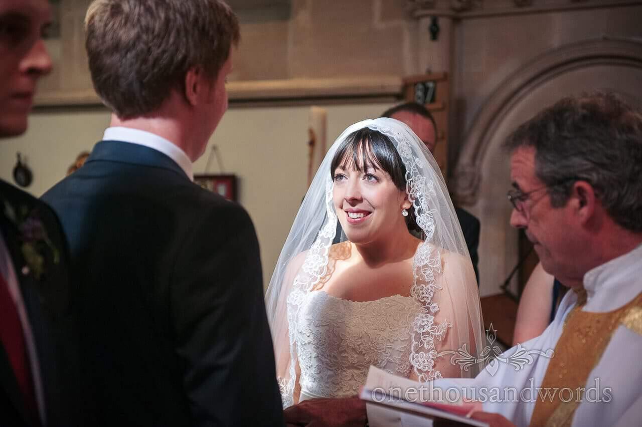 Bride portrait during Lyndhurst church wedding ceremony