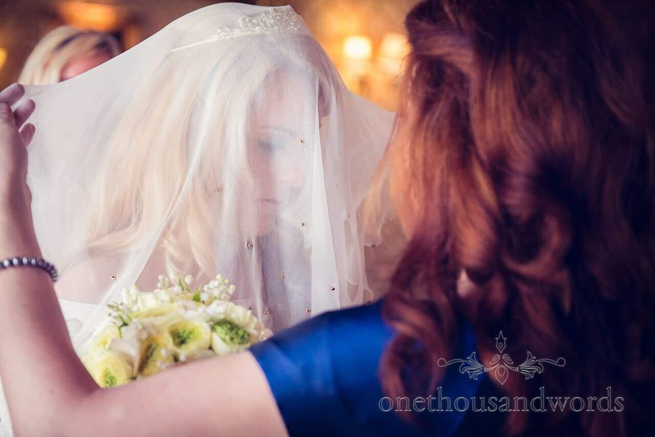 Bride portrait under wedding veil at Tylney Hall