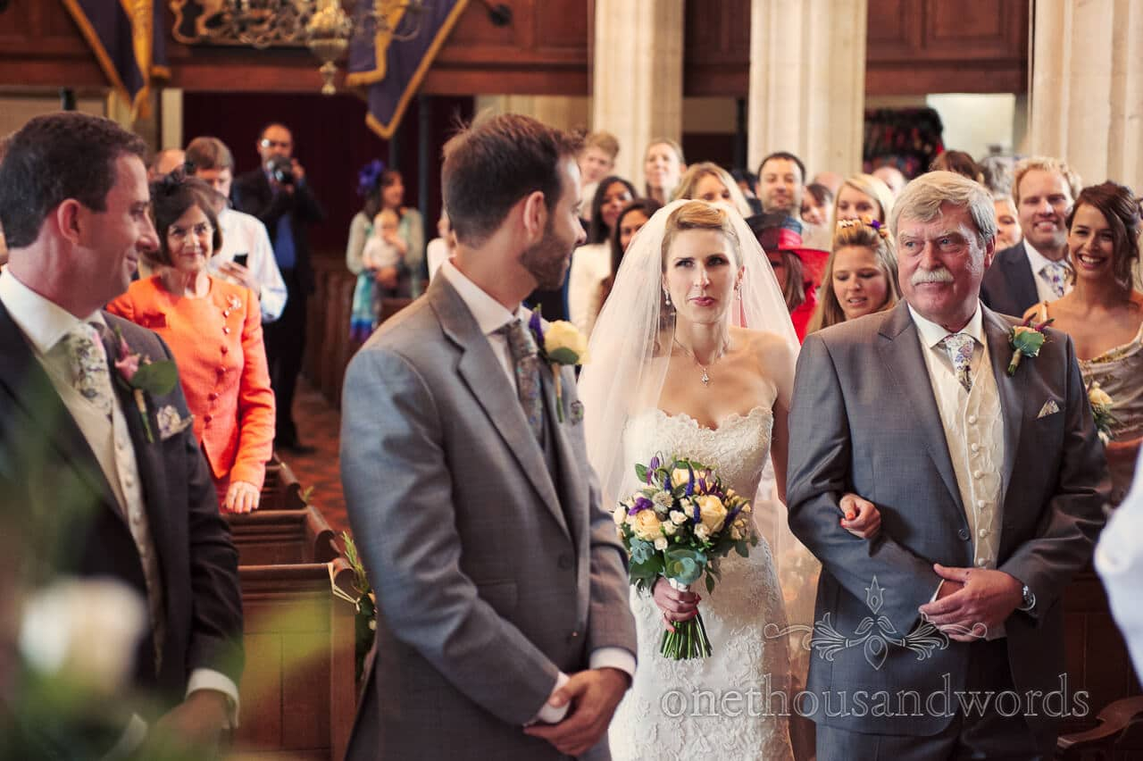 Bride sees groom for first time at Abbotsbury Church Wedding